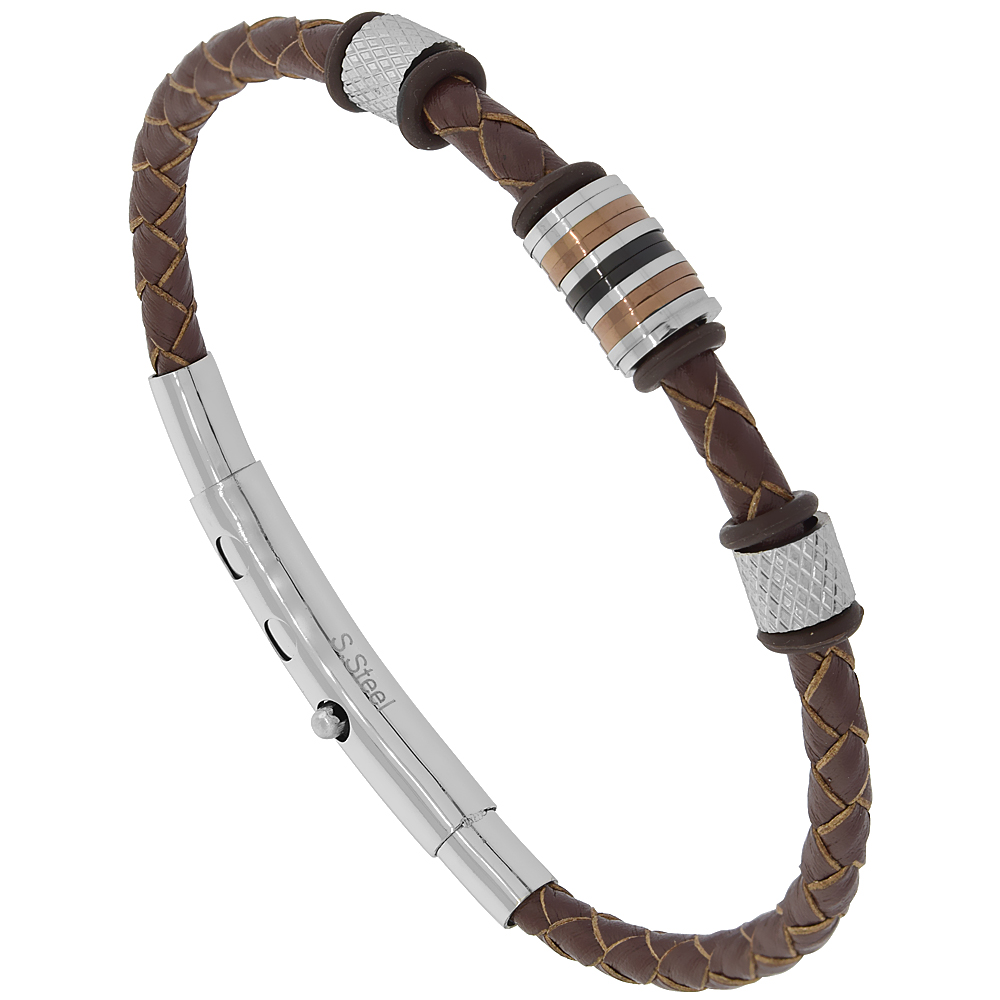 Brown Adjustable Leather Braided Station Bracelet Stainless Steel & Rubber Findings, fits 7.5 - 8 inch