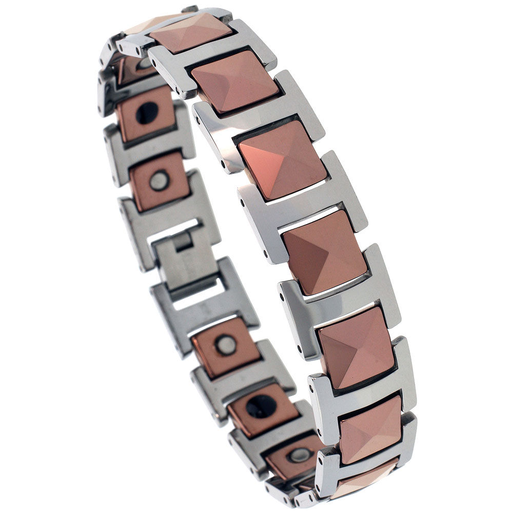 Tungsten Carbide Bracelet Magnetic Therapy 2-Tone Rose Faceted Links, 7/16 inch wide,