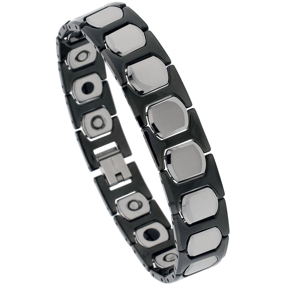 Tungsten & Ceramic Bracelet Magnetic Therapy, 2-Tone Black & Gun Metal, 1/2 inch wide,