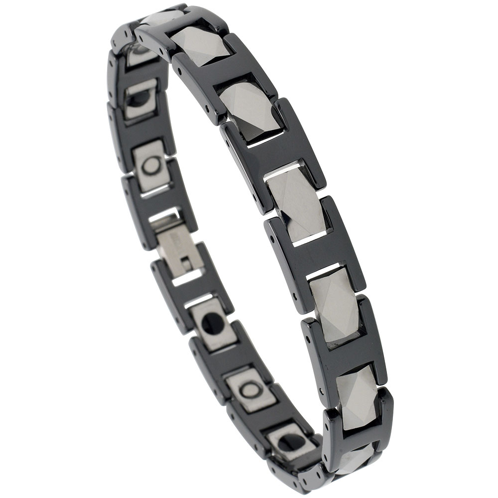 Tungsten & Ceramic Bracelet Magnetic Therapy, 2-Tone Black & Gun Metal Diamond Faceted Rectangular Links, 3/8 inch wide,