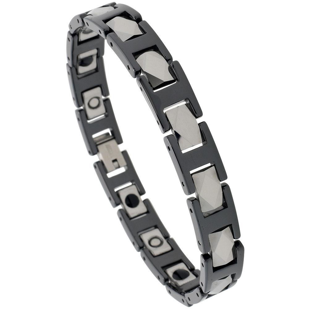 Tungsten & Ceramic Bracelet Magnetic Therapy, 2-Tone Black & Gun Metal Diamond Faceted Rectangular Links, 3/8 inch wide,