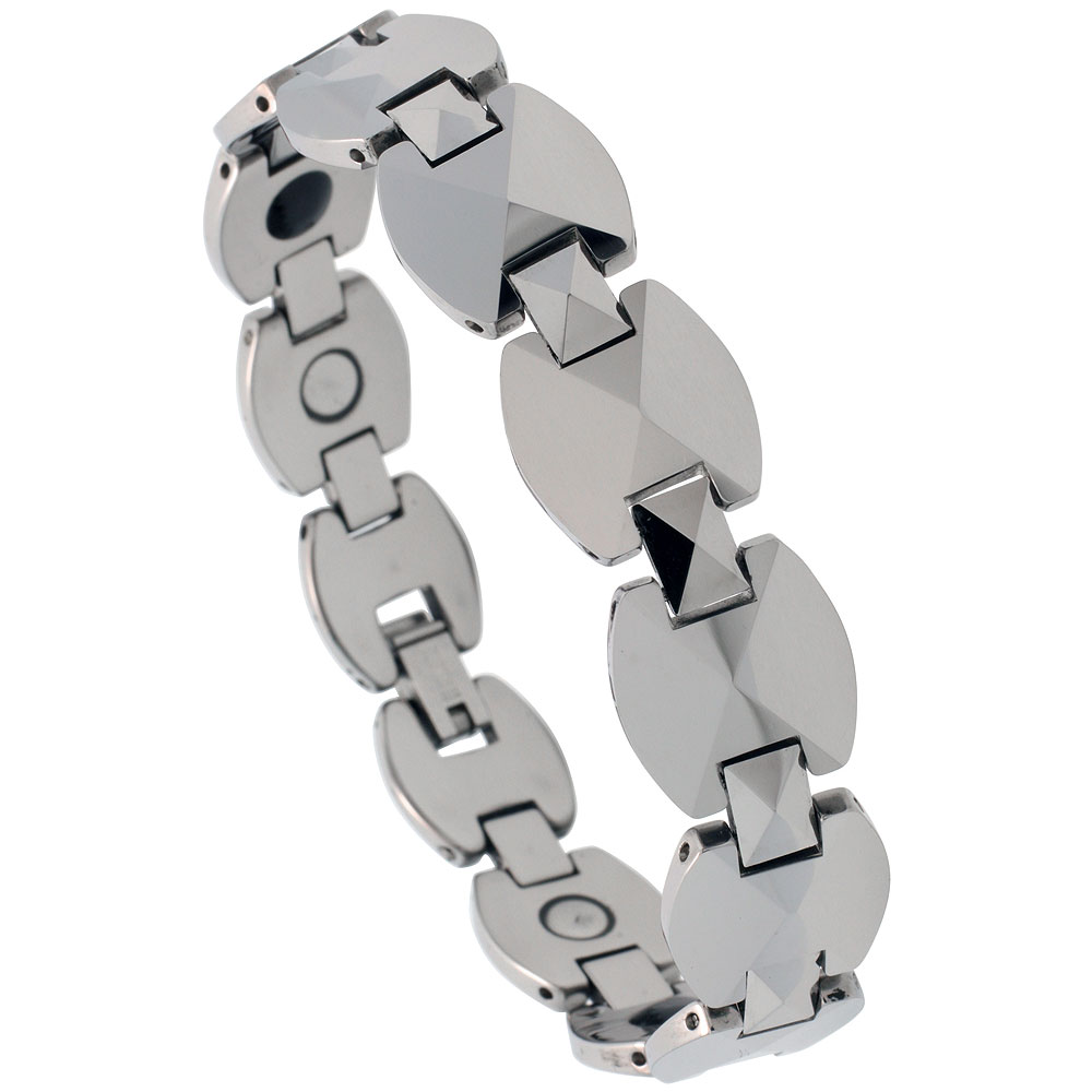 Tungsten Carbide Bracelet Magnetic Therapy Triangular Facets, 7/16 inch wide,