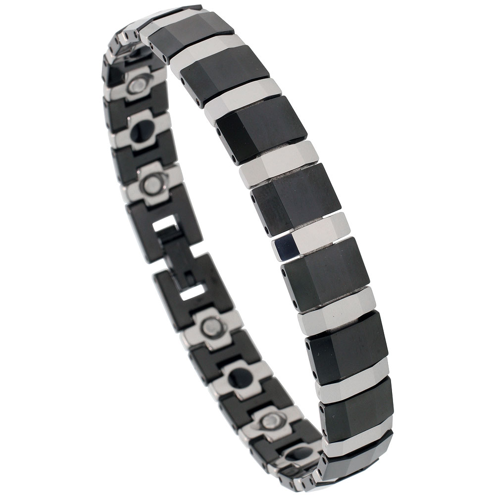 Tungsten & Ceramic Bracelet Magnetic Therapy, 2-Tone Black & Gun Metal, 1/2 inch wide,