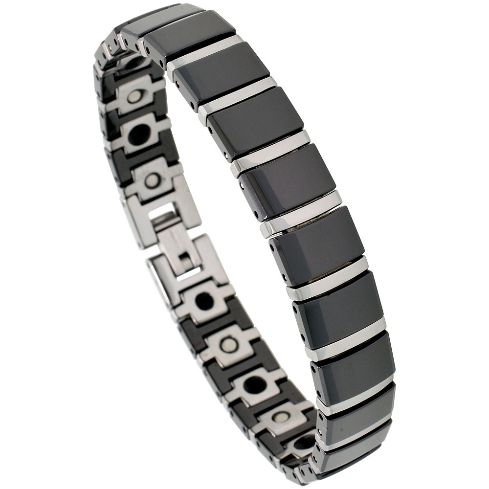 Tungsten & Ceramic Bracelet Magnetic Therapy, 2-Tone Black & Gun Metal Bar Links, 3/8 inch wide,
