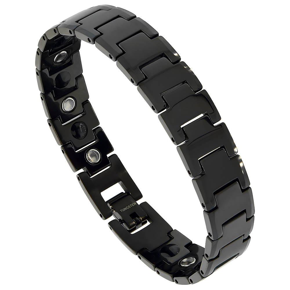 Tungsten Carbide Black Bracelet Magnetic Therapy, 1/2 inch wide,