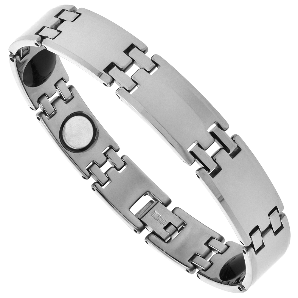 Tungsten Carbide Magnetic Therapy Bar Bracelet, 1/2 inch wide,