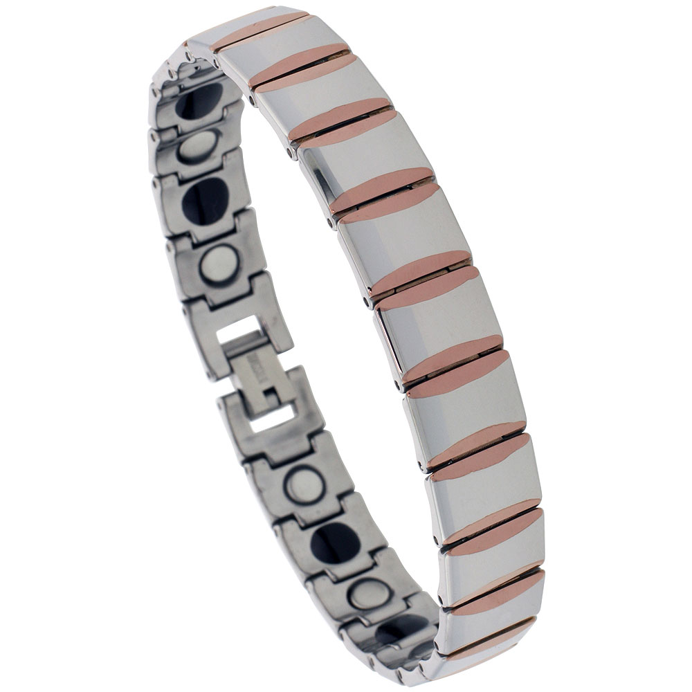Tungsten Carbide Bracelet Magnetic Therapy, 2-Tone Rose Gold & Gun Metal Bar Links, 1/2 inch wide,