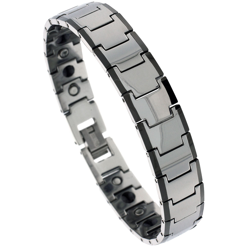 Tungsten Carbide Bracelet Magnetic Therapy Black Edge Bar Links, 5/8 inch wide,