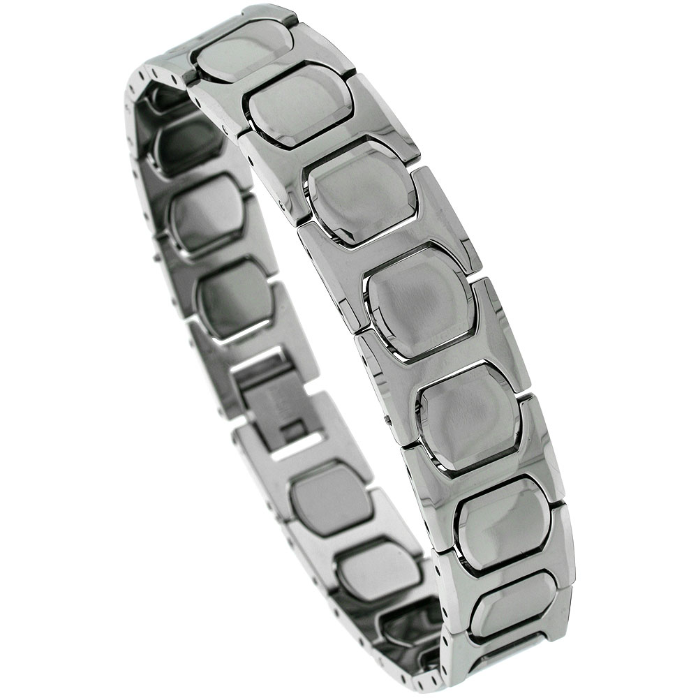 Tungsten Carbide H & Cushion Link Bracelet, 1/2 inch wide,