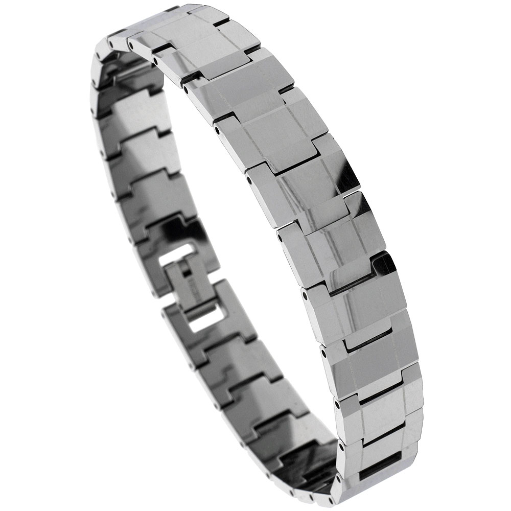 Tungsten Carbide Bracelet Magnetic Therapy Rectangular Faceted Bar Links, 1/2 inch wide,
