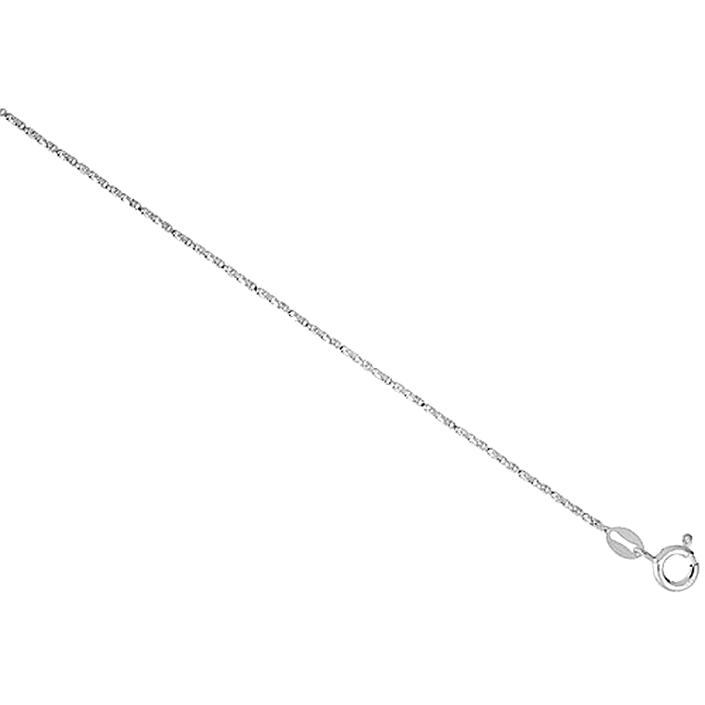 Sterling Silver Twisted BOX Chain Necklaces & Bracelets 1mm Nickel Free Italy, Sizes 7 - 30 inch