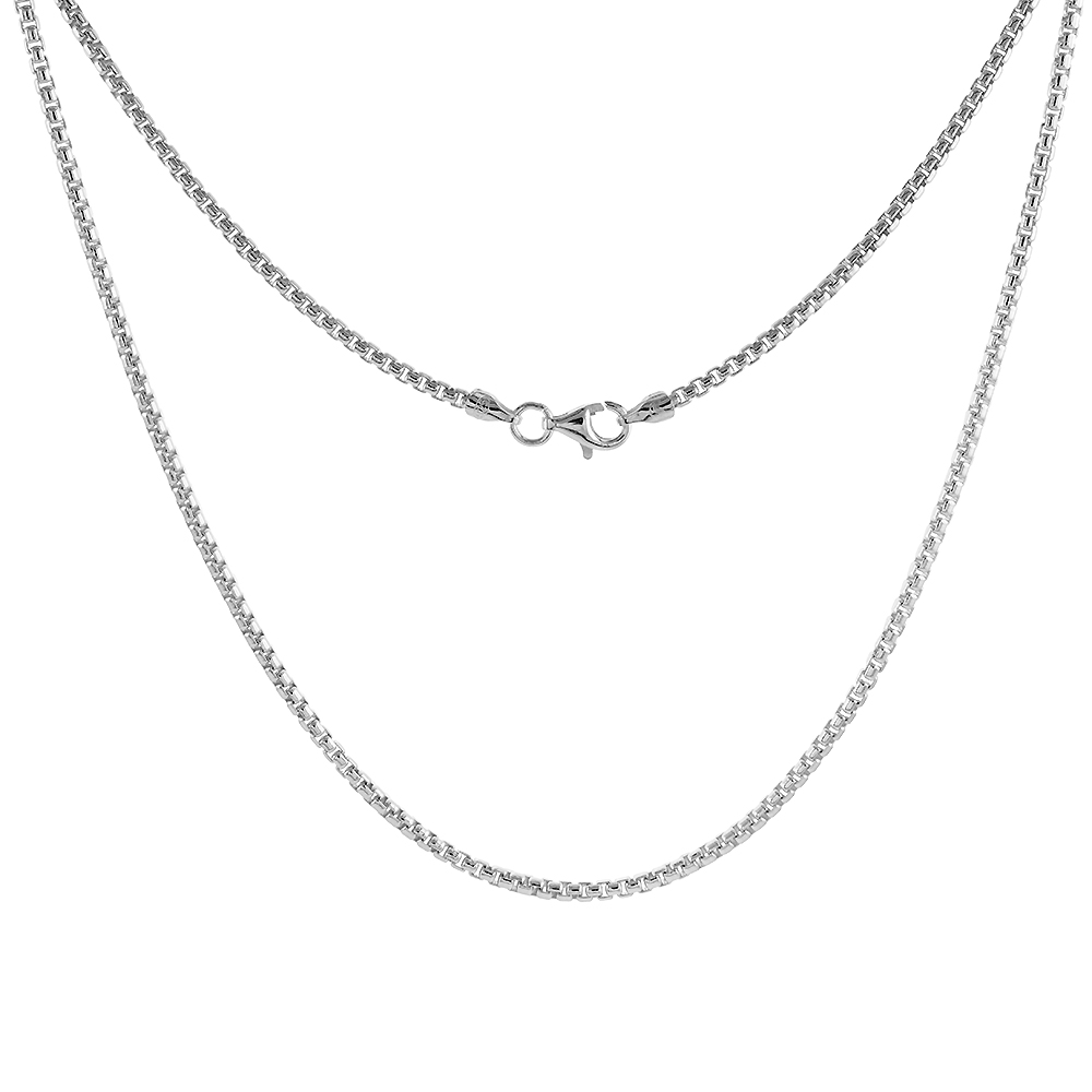 Sterling Silver ROUND BOX Chain Necklace 2mm Medium Thin Nickel Free Italy, sizes 16 - 30 inch