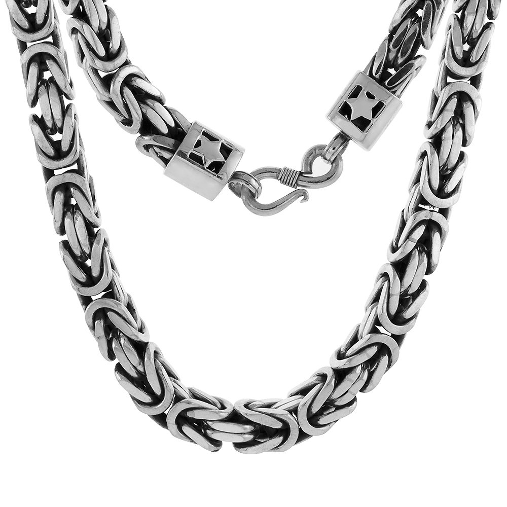 10mm Sterling Silver square BYZANTINE Chain Necklaces & Bracelets 10mm Thick Antiqued Nickel Free, 8-30 inch