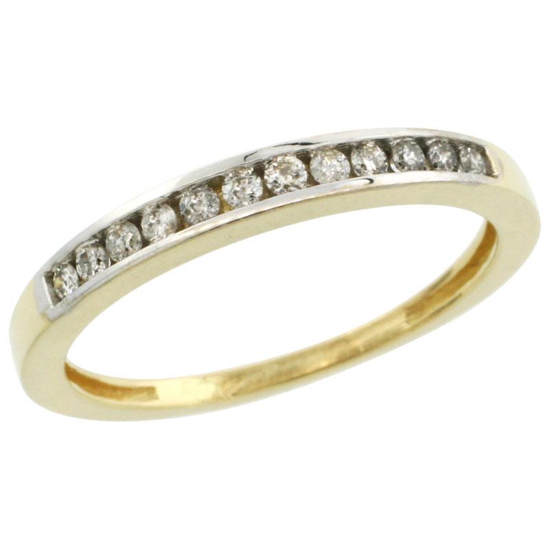 10k Gold 3mm Classic Channel Set Diamond Ring Band w/ 0.18 Carat Brilliant Cut Diamonds