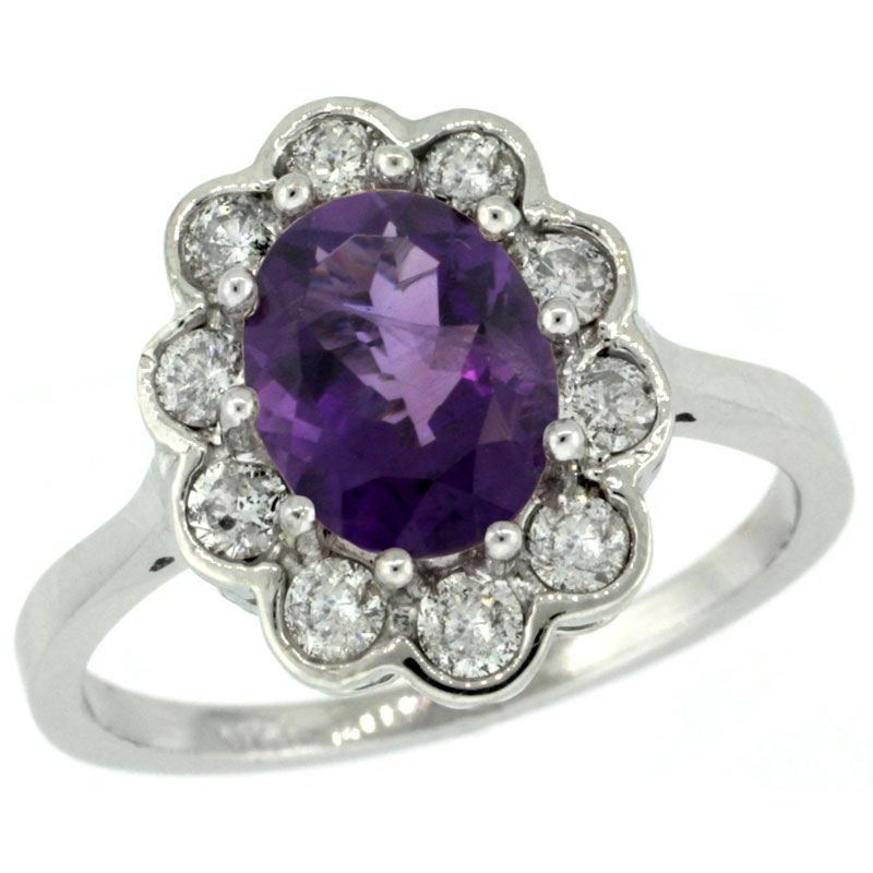 14k White Gold Halo Engagement Amethyst Engagement Ring Diamond Accents Oval 9x7mm, sizes 5 - 10