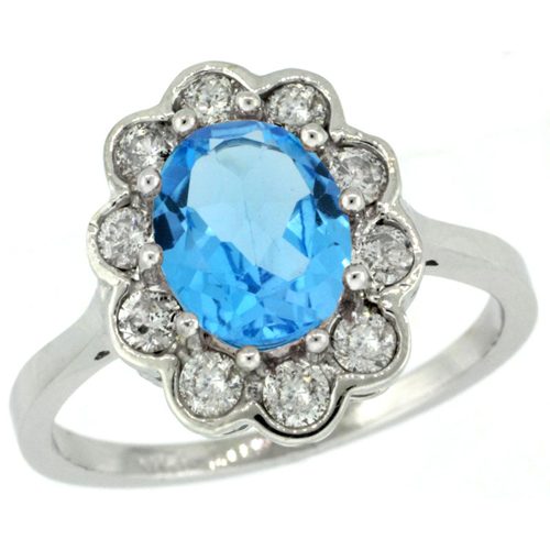 14k White Gold Halo Engagement Swiss Blue Topaz Engagement Ring Diamond Accents Oval 9x7mm, sizes 5 - 10