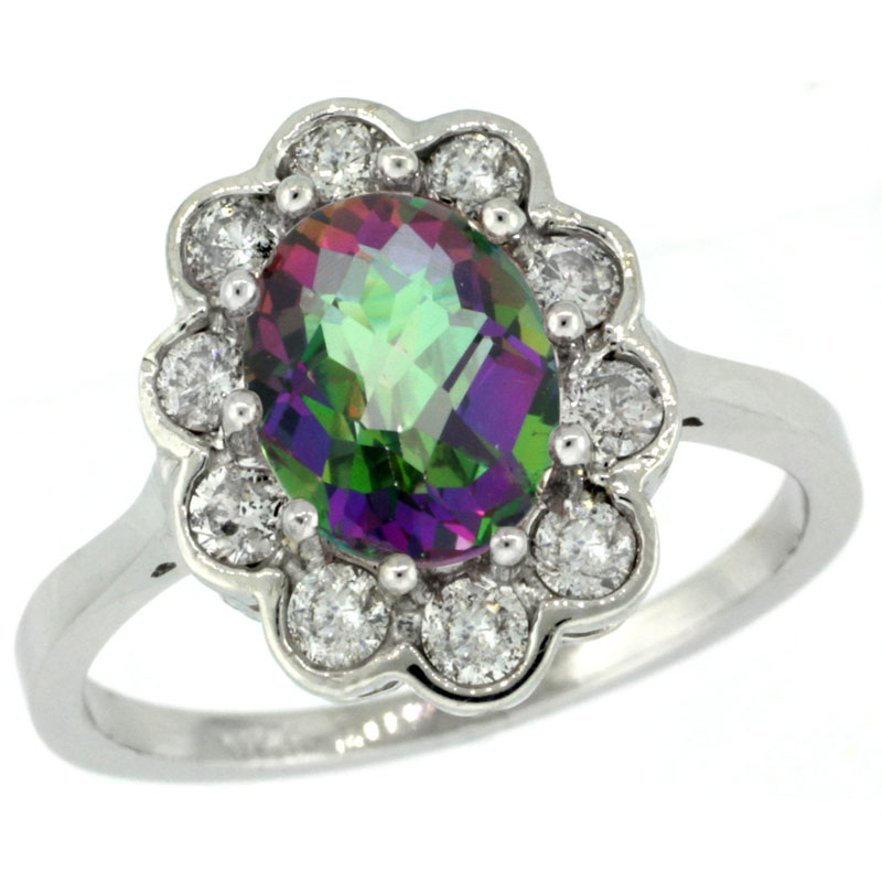 10K White Gold Halo Engagement Mystic Topaz Engagement Ring Diamond Accents Oval 9x7mm, sizes 5 - 10