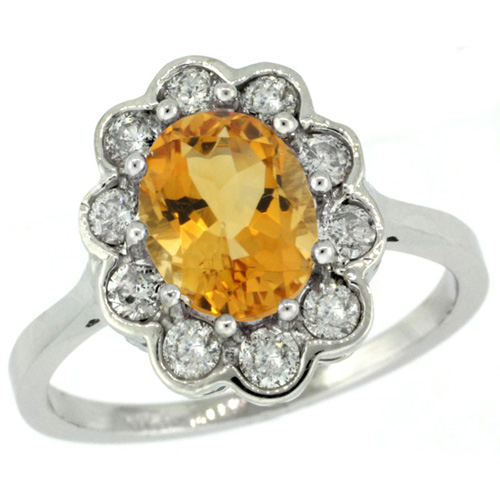 10K White Gold Halo Engagement Citrine Engagement Ring Diamond Accents Oval 9x7mm, sizes 5 - 10