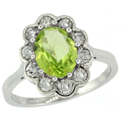 10K White Gold Halo Engagement Peridot Engagement Ring Diamond Accents Oval 9x7mm, sizes 5 - 10