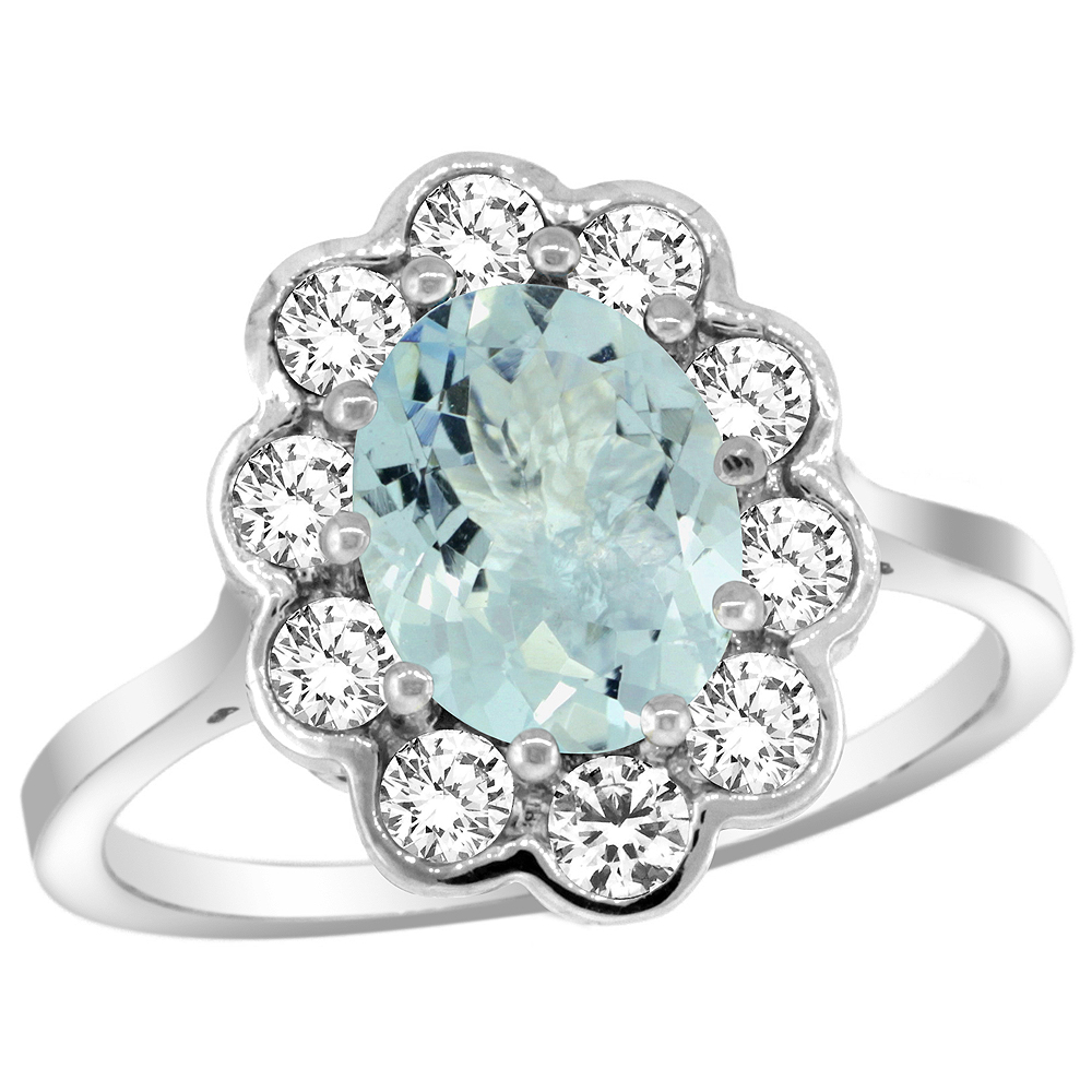 14k White Gold Halo Engagement Aquamarine Engagement Ring Diamond Accents Oval 9x7mm, sizes 5 - 10