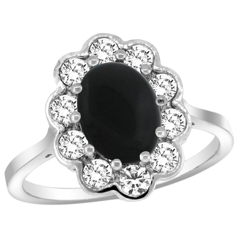 14k White Gold Halo Engagement Black Onyx Engagement Ring Diamond Accents Oval 9x7mm, sizes 5 - 10