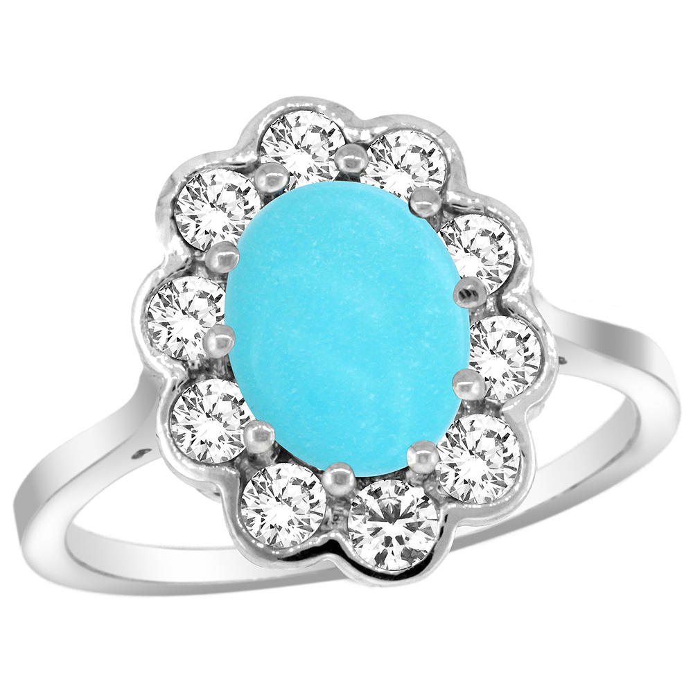 14k White Gold Halo Engagement Turquoise Engagement Ring Diamond Accents Oval 9x7mm, sizes 5 - 10