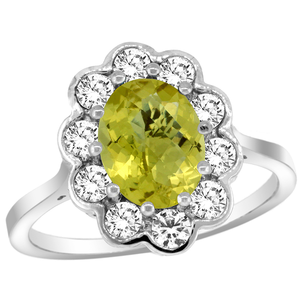 14k White Gold Halo Engagement Lemon Quartz Engagement Ring Diamond Accents Oval 9x7mm, sizes 5 - 10