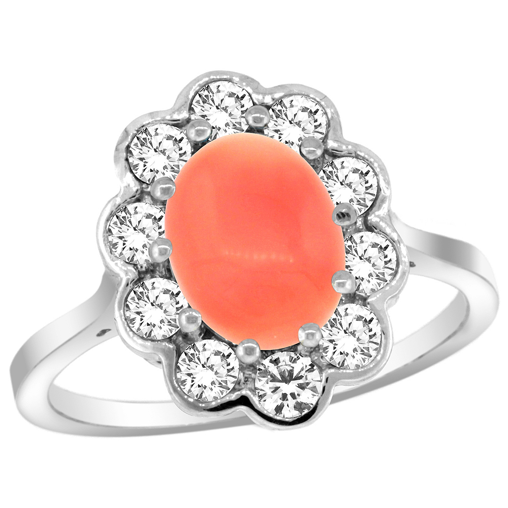 14k White Gold Halo Engagement Coral Engagement Ring Diamond Accents Oval 9x7mm, sizes 5 - 10