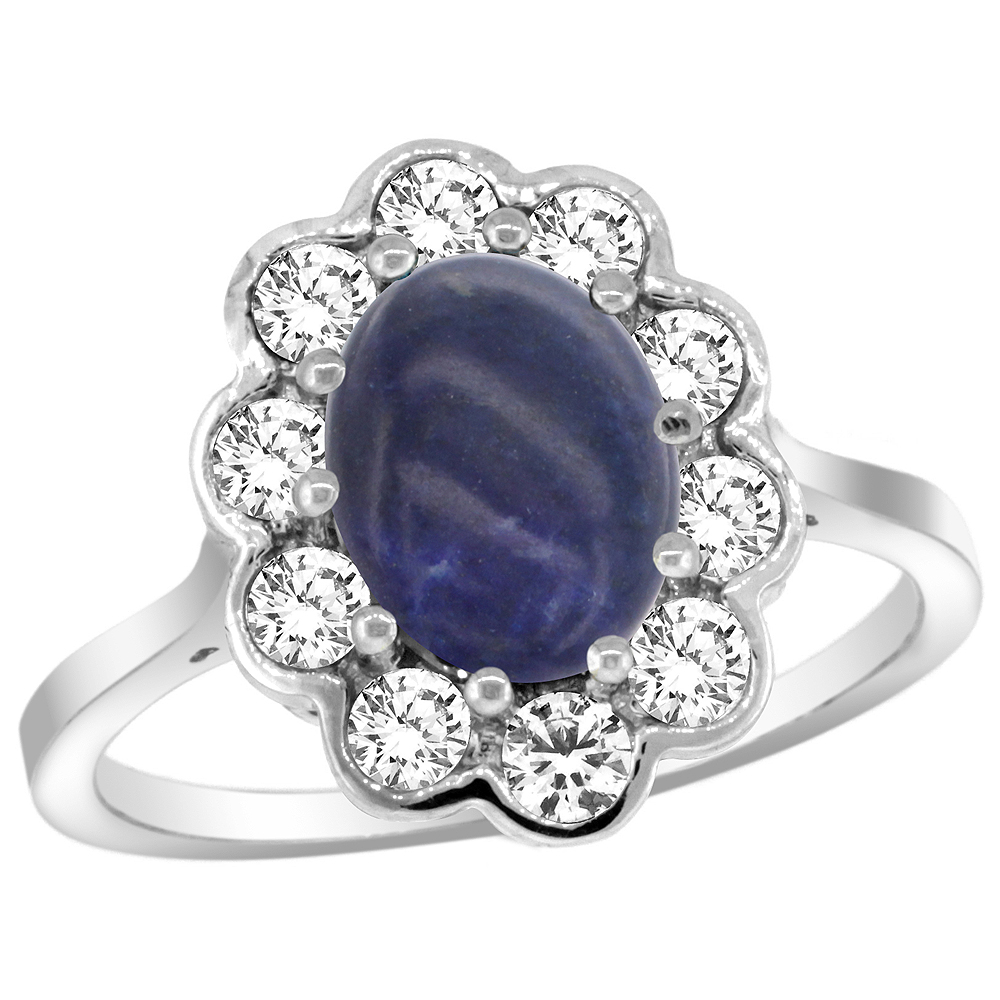 14k White Gold Halo Engagement Lapis Engagement Ring Diamond Accents Oval 9x7mm, sizes 5 - 10