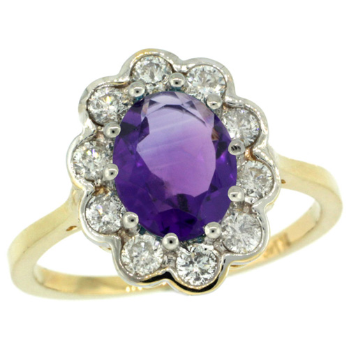 14k Yellow Gold Halo Engagement Amethyst Engagement Ring Diamond Accents Oval 9x7mm, sizes 5 - 10