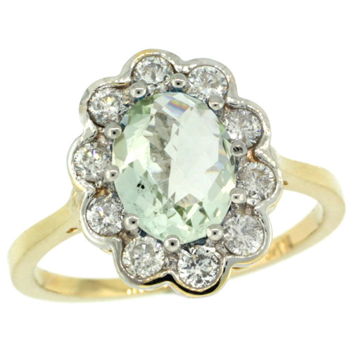 10K Yellow Gold Halo Engagement Green Amethyst Engagement Ring Diamond Accents Oval 9x7mm, sizes 5 - 10