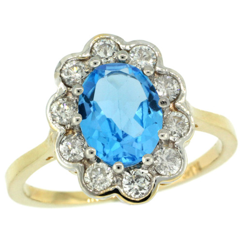14k Yellow Gold Halo Engagement Swiss Blue Topaz Engagement Ring Diamond Accents Oval 9x7mm, sizes 5 - 10