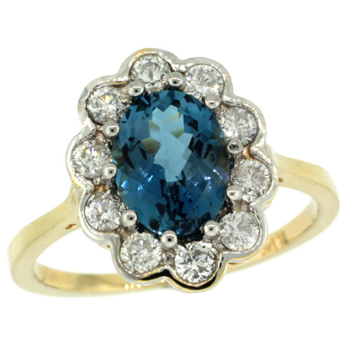 14k Yellow Gold Halo Engagement London Blue Topaz Engagement Ring Diamond Accents Oval 9x7mm, sizes 5 - 10