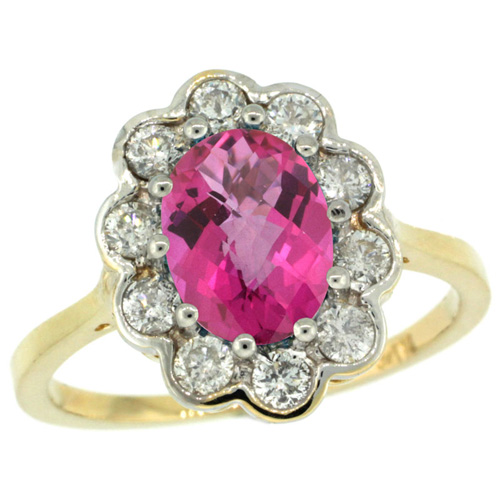 10K Yellow Gold Halo Engagement Pink Topaz Engagement Ring Diamond Accents Oval 9x7mm, sizes 5 - 10