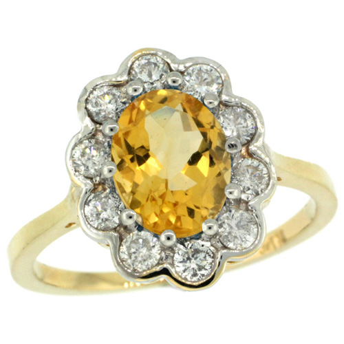 14k Yellow Gold Halo Engagement Citrine Engagement Ring Diamond Accents Oval 9x7mm, sizes 5 - 10