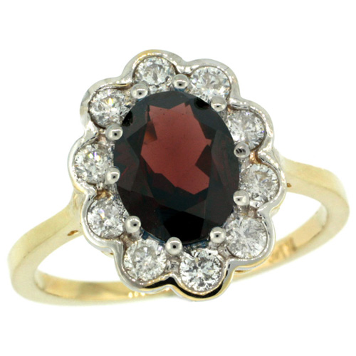 10K Yellow Gold Halo Engagement Garnet Engagement Ring Diamond Accents Oval 9x7mm, sizes 5 - 10