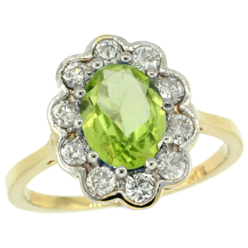 14k Yellow Gold Halo Engagement Peridot Engagement Ring Diamond Accents Oval 9x7mm, sizes 5 - 10