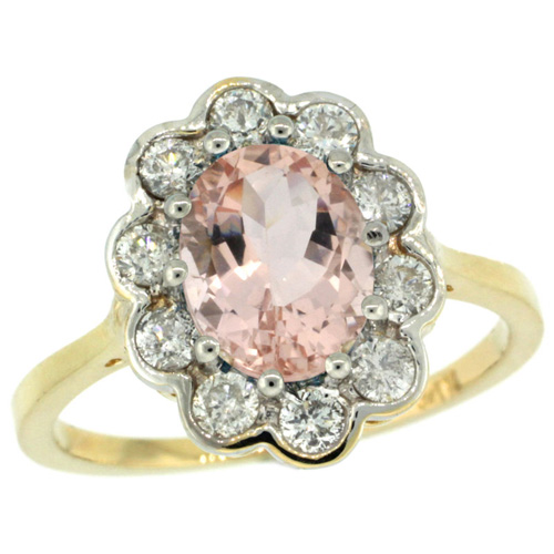 10K Yellow Gold Halo Engagement Morganite Engagement Ring Diamond Accents Oval 9x7mm, sizes 5 - 10