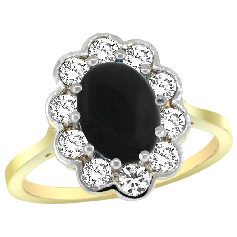 14k Yellow Gold Halo Engagement Black Onyx Engagement Ring Diamond Accents Oval 9x7mm, sizes 5 - 10