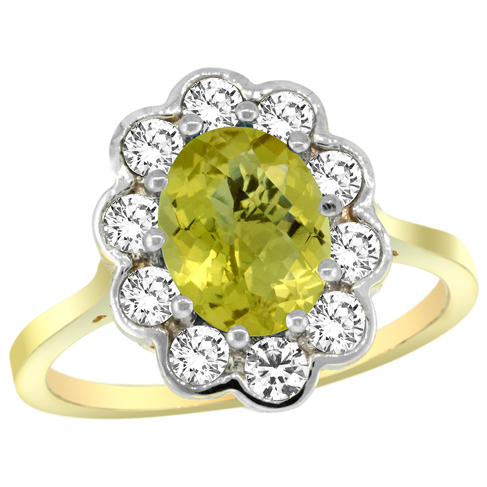 14k Yellow Gold Halo Engagement Lemon Quartz Engagement Ring Diamond Accents Oval 9x7mm, sizes 5 - 10