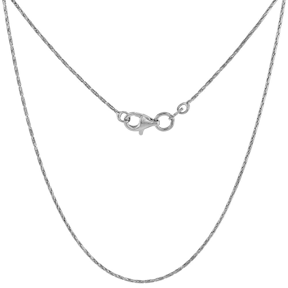 0.8mm Round Sterling Silver Cardano Chain Necklace fine Diamond cut Rhodium finish, sizes 16 - 18 inch
