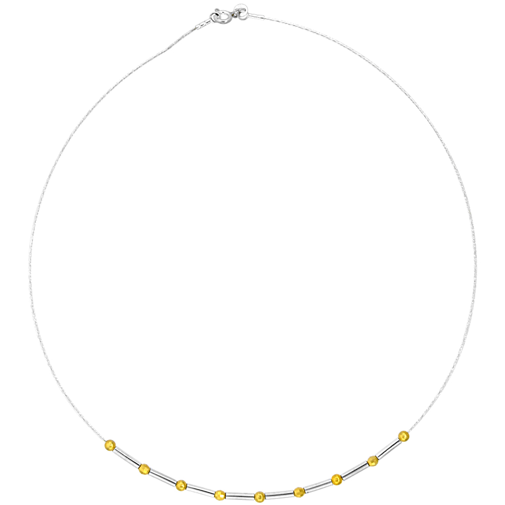 Sterling Silver Cable Wire Beaded Necklace for women Bar and Gold Plated Beads 1/8 inch wide