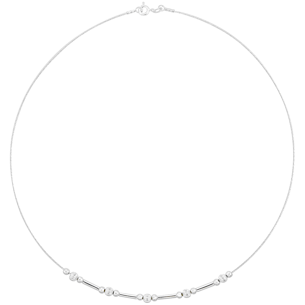 Sterling Silver Cable Wire Necklace Bead Accents, 5/32 inch wide