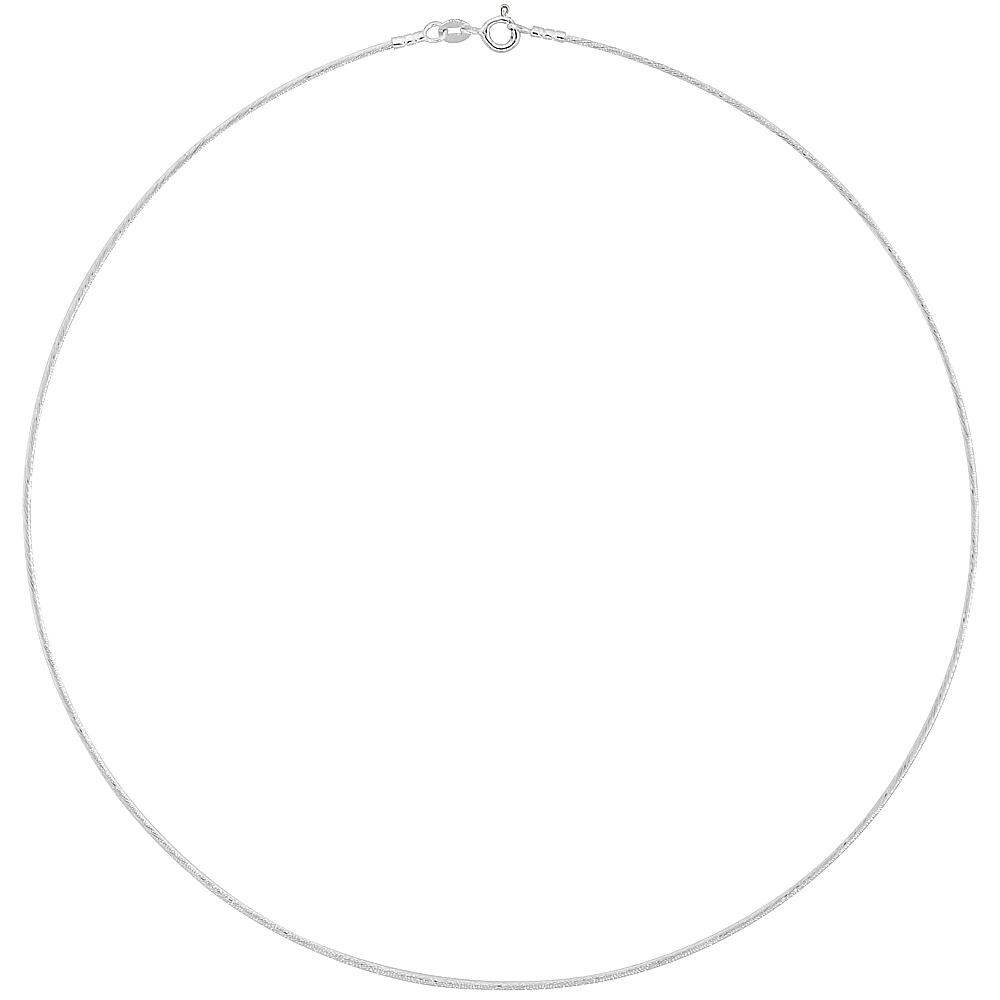 Sterling Silver Cable Wire Necklace, 1.25mm wide