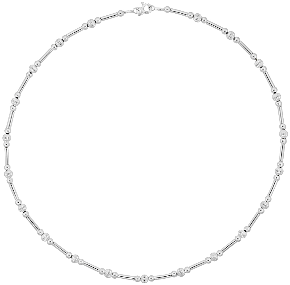 Sterling Silver Cable Wire Necklace Bead Accents around, 5/32 inch wide
