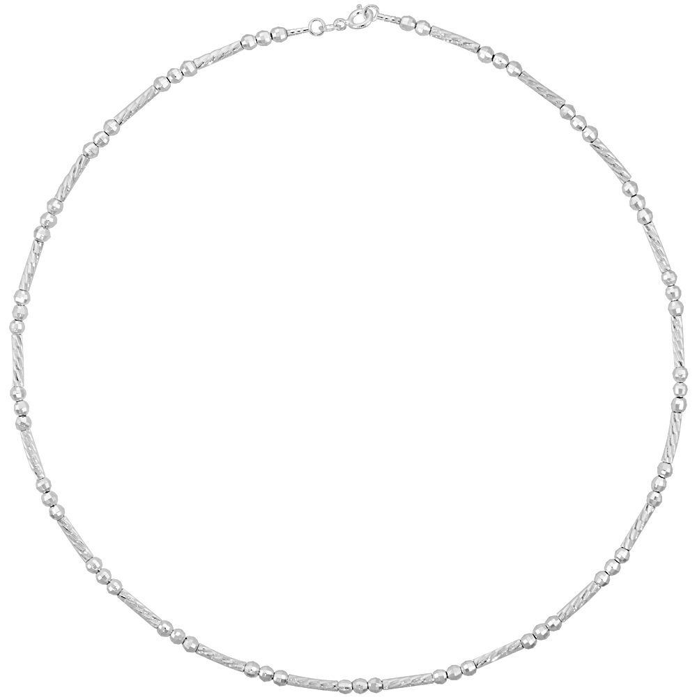 Sterling Silver Cable Wire Necklace Bead and Diamond cut Bar Accents around, 1/8 inch wide