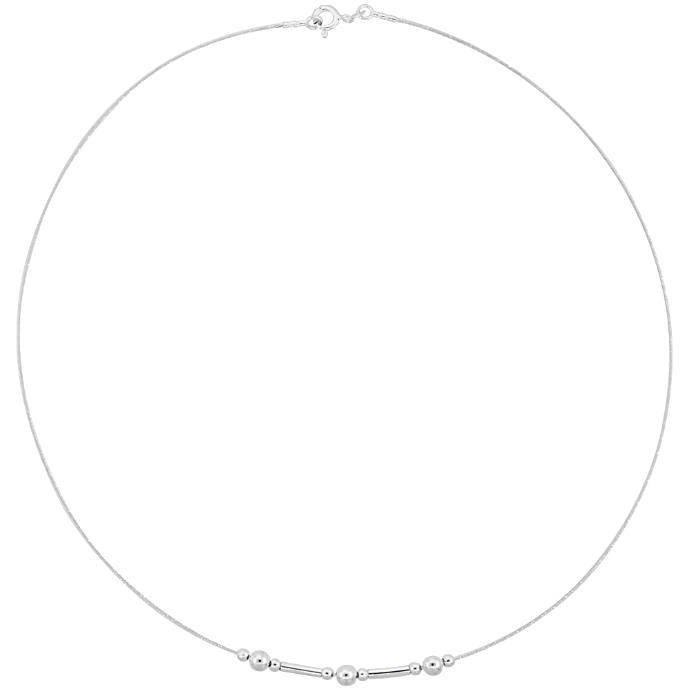 Sterling Silver Cable Wire Necklace Bead and Bar Accents, 3/16 inch wide