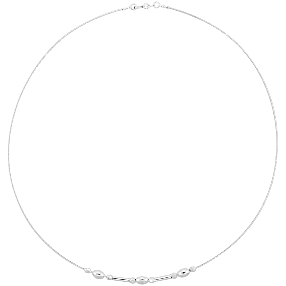 Sterling Silver Cable Wire Necklace Oval and Round Bead with Bar Accents, 3/16 inch wide