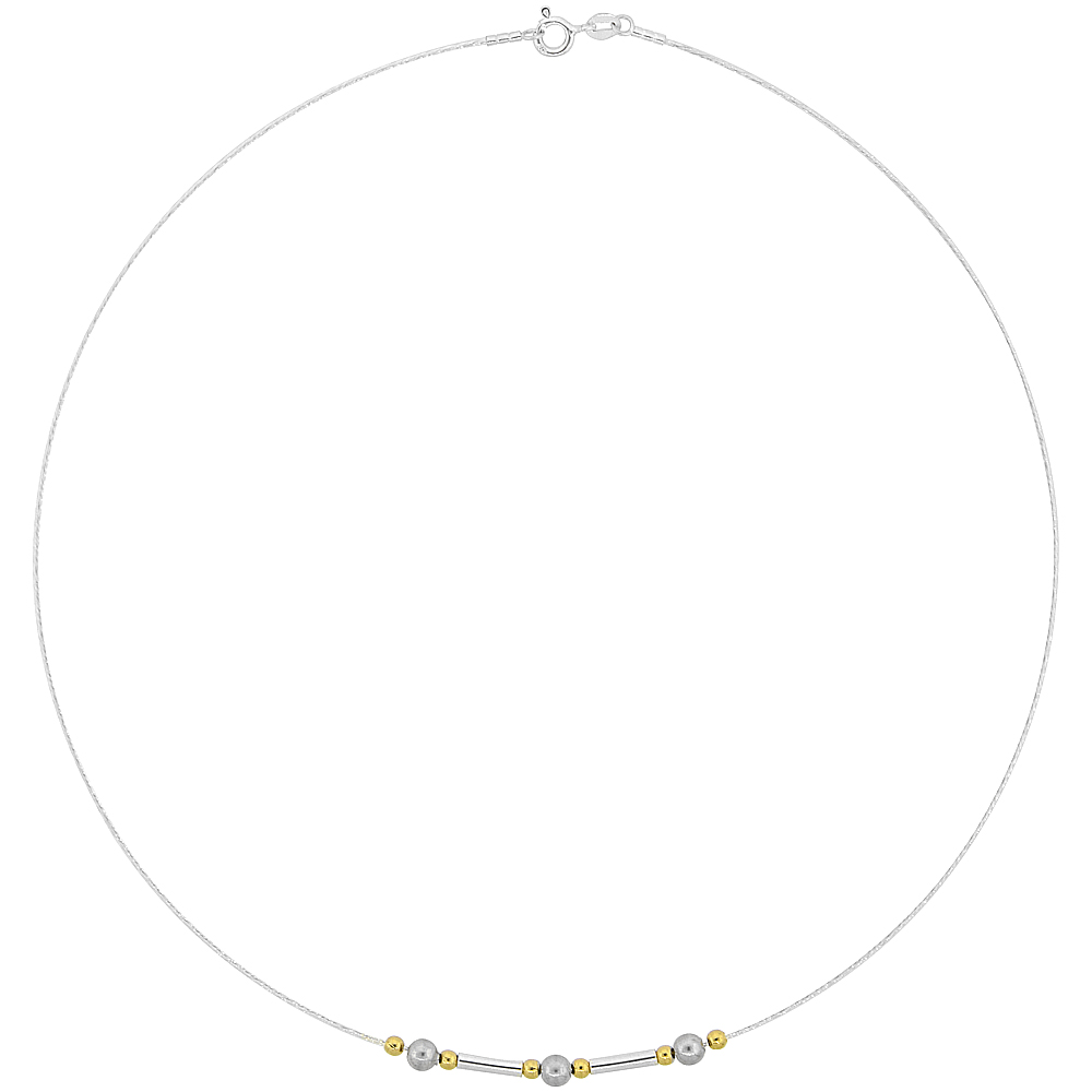 Sterling Silver Cable Wire Necklace Round Beads and Bar Accents, 5/32 inch wide