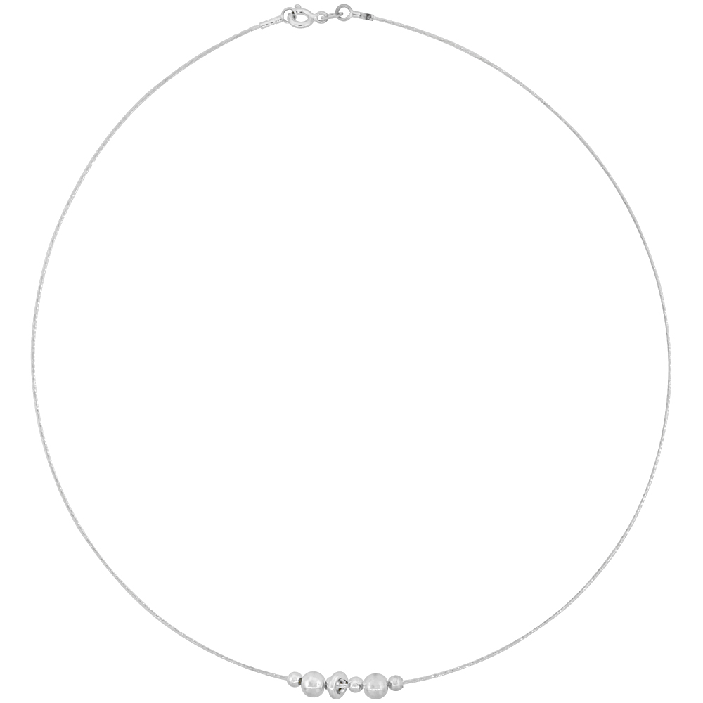 Sterling Silver Cable Wire Necklace Bead Accents, 1/4 inch wide